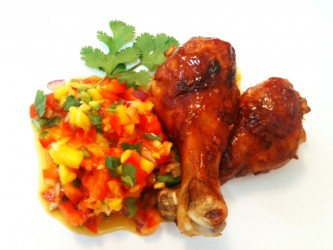 Recipe: Jerk Drumsticks and Grilled Mango Salsa